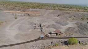 Gravel and sand quarry. Heavy machinery at gravel and sand quarry. extraction volcanic sand at sorting crushing complex. rock crushing and screening equipment stock video
