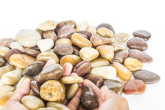 Gravel stone. Screened gravel or river rocks used in home decor Stock Images