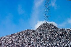 Gravel from a tape of the conveyor royalty free stock images