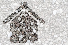 Gravel texture with house Stock Photo