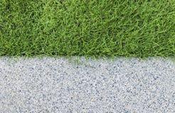 Gravel texture and strip grass Stock Photos
