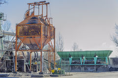 Gravel washing plant for the production of concrete. Stock Image