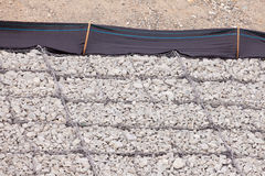 Gravel wire mesh bank revetment erosion control Royalty Free Stock Photos