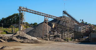 Gravel Works. Gravel hills at a ravel works site Royalty Free Stock Photography