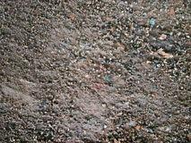 Gravels on wet and dirty concrete floor. Closeup shot of gravels on wet and dirty concrete floor Royalty Free Stock Image