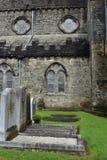 Graven bij steen middeleeuwse kathedraal stock foto