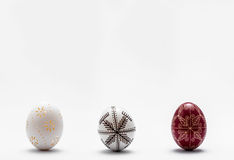 Graven Easter eggs. Traditional graven Easter eggs on white background Stock Photography