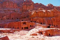 Graven van Petra, JORDANIË Stock Afbeelding