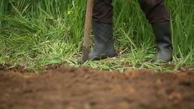 Gravende de lentegrond met schop Close-up stock video