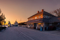 Wharf at Sunset. A picture of the historic Gravenhurst Wharf at sunset in Canada. Where the historic steamship the RMS Segwun has operated from since 1887. The