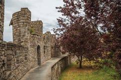 Gravensteen俯视一个后院的城堡墙壁和楼梯栏杆在跟特 免版税库存图片