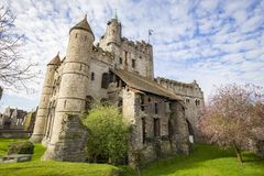 Gravensteen城堡在跟特,富兰德,比利时 库存图片