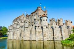 Gravensteen,计数的城堡在跟特,比利时 库存图片