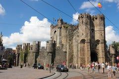 Gravensteen 计数的城堡 跟特 比利时 库存图片