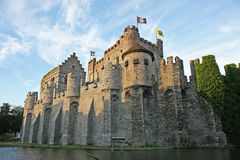 Gravensteen castle. The Gravensteen is a medieval castle in Ghent originating from the Middle Ages stock photo