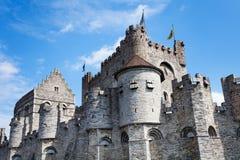 Gravensteen castle in Flemish region of Belgium. Coloseup of Gravensteen castle close up view in Flemish region of Belgium during daytime in summer Royalty Free Stock Photo