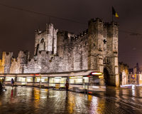 Gravensteen Castle in Ghent at Night Royalty Free Stock Photos