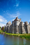 Gravensteen castle reflecting in river, Belgium Royalty Free Stock Photo