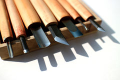 Graver chisels in the white Stock Photos