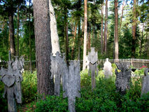 THE GRAVERBOARDS KRIKSTAS IN THE NIDA`S CEMETERY Stock Images