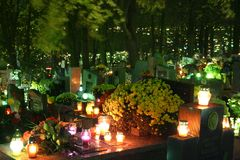 Graves. All Saints Day on Polish cementary Royalty Free Stock Photography