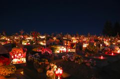Graves on All Saints Day. Poland Royalty Free Stock Photography