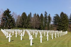 Graves at the American military cemetery in Sandweiler Royalty Free Stock Photography