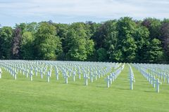Graves of valiant soldiers from America that fought during World stock photo
