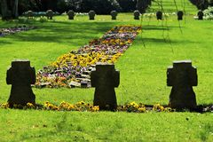 Graves in a cemetery. In spring Royalty Free Stock Photography