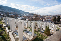 Graves in the cemetery on the hill above Sarajevo Stock Image