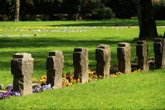 Graves on a cemetery. In spring Royalty Free Stock Images