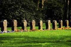 Graves on a cemetery. In spring Royalty Free Stock Photo