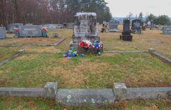 Graves of Chang and Eng Bunker in Mt. Airy North Carolina. Chang and Eng Bunker, the most famous conjoined twins Siamese twins were Siamese-American who royalty free stock photography