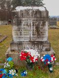 Graves of Chang and Eng Bunker in Mt. Airy North Carolina. Chang and Eng Bunker, the most famous conjoined twins Siamese twins were Siamese-American who royalty free stock image