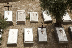 Mount of Olives Christian Cemetary. Graves at a Christian cemetary at the foot of Mount of Olives in Jerusalem, Israel Stock Images