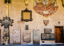 Graves in the courtyard of the shrine of St. Anthony of Padua. Stock Photos