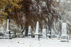 Graves covered by snow Royalty Free Stock Images