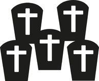 Graves with crosses - cementery. Vector Stock Image