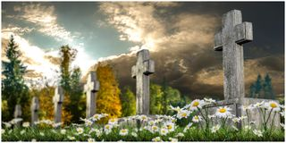 Graves. 3d illustration of graves on green grass Stock Photography