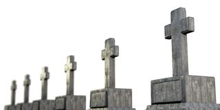 Graves. 3d illustration of graves isolated on white background Stock Photo