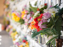 Graves with flowers on a wall of a European cemetery. Stock Photo