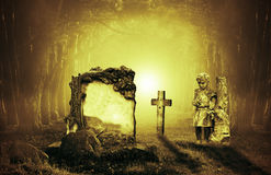 Graves in a forest Royalty Free Stock Image