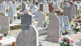 Graves  headstones and crucifixes Stock Photos