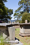 Graves on Isle of the Dead, Port Arthur. Tasmania.  Isle of the Dead contains the cemetery for convicts of the former penal colony of Port Arthur Royalty Free Stock Image