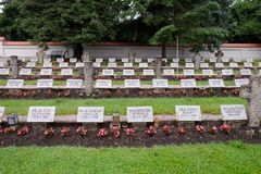 The graves of members of St. Joseph Congregation on the cemetery in Ursberg, Germany.  Royalty Free Stock Photography