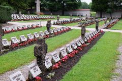 The graves of members of St. Joseph Congregation on the cemetery in Ursberg, Germany.  Stock Image