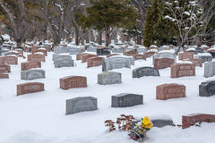 Graves in Mount Royal Cemetery under heavy snow, Montreal, Quebec, Canada stock images
