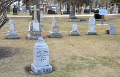 Graves. Near the Saint Boniface Cathedral of Winnipeg City, Manitoba province, Canada. The photo was taken in November 2013 royalty free stock photos