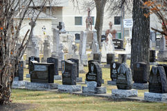 Graves. Near the Saint Boniface Cathedral of Winnipeg City, Manitoba province, Canada. The photo was taken in November 2013 stock image