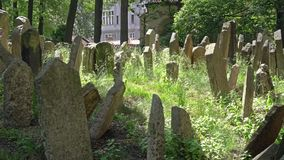 Jewish cemetery in Prague. The graves of the old Jewish cemetery in Prague, Czech Republic stock footage